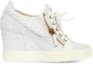 Giuseppe Zanotti Design 85mm Croc Leather Wedged Sneakers