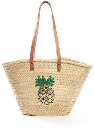 St. Honore Pineapple Sequins Straw Bag $58 thestylecure.com
