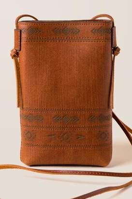 francesca's Georgina Printed Leather Crossbody - Cognac