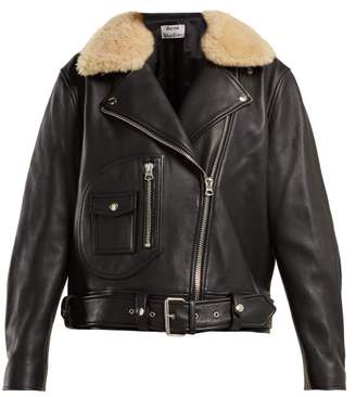 Acne Studios Shearling Collar Leather Biker Jacket - Womens - Black
