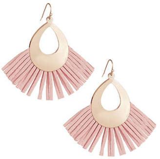 DESIGN LAB Fringe Cut-Out Teardrop Earrings