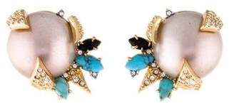 Alexis Bittar Faux Pearl Mosaic Futurist Button Clip-On Earrings