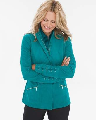 Sueded Lace-Up Sleeve Jacket