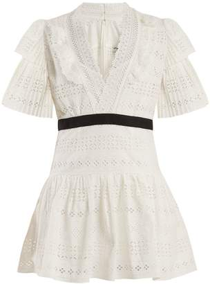 Self-Portrait Deep V-neck broderie-anglaise cotton dress