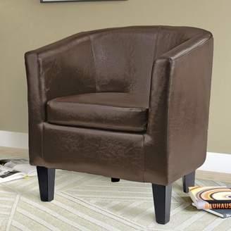 Corliving CorLiving Antonio Bonded Leather Tub Chair, Dark Brown