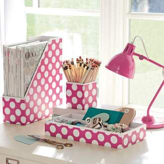 Pottery Barn Teen Printed Desk Accessories, Set of 3: Magazine Caddy, Divided Tray and Cup, Carmine Rose Dottie