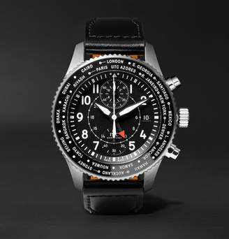 IWC SCHAFFHAUSEN Pilot's Timezoner Chronograph 45mm Stainless Steel And Leather Watch