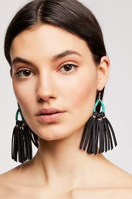 Raven & Riley Tahiti Stone Drop Leather Hoop Earrings