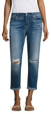 7 For All Mankind Josefina Distressed Rolled Boyfriend Jeans $169 thestylecure.com
