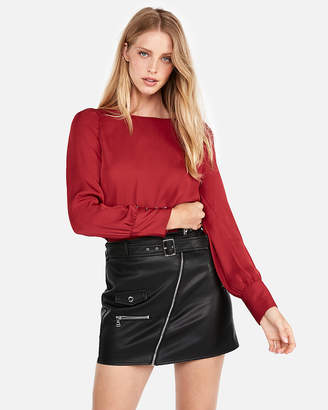 Express Puff Sleeve Large Button-Cuff Blouse