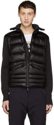 Moncler Black Panelled Down and Wool Jacket