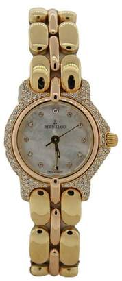 Berto Lucci Bertolucci Pulchra 8055 18K Yellow Gold Mother Of Pearl Diamond Bezel 26mm Quartz Ladies Watch