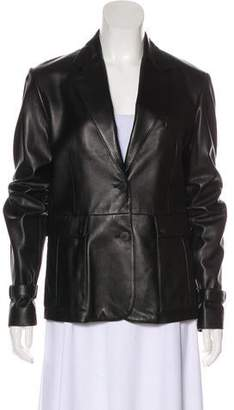Burberry Notch-Lapel Leather Jacket