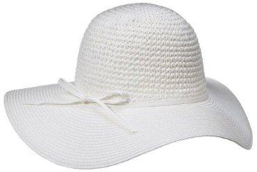 Merona Straw Crown Floppy Hat - White