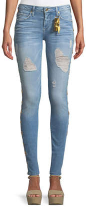 Robin's Jeans Marilyn Distressed Skinny Jeans with Beaded Embellishments