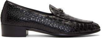 Giuseppe Zanotti Black Croc Zanzaroun Loafers
