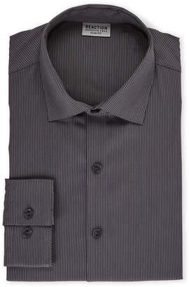 Kenneth Cole Reaction Grey & White Slim Fit Broken Stripe Dress Shirt