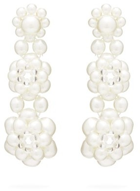Simone Rocha Floral Beaded Drop Earrings - Womens - White