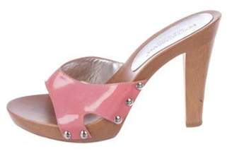Dolce & Gabbana Patent Leather Studded Sandals Pink Patent Leather Studded Sandals