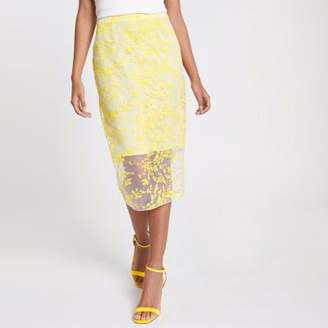 River Island Womens Yellow floral embroidered pencil skirt