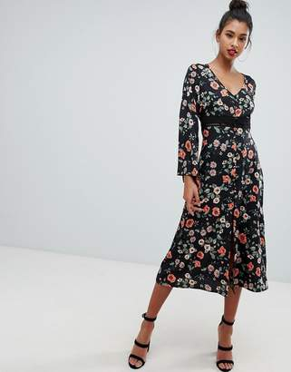 PrettyLittleThing broderie insert midi dress in floral