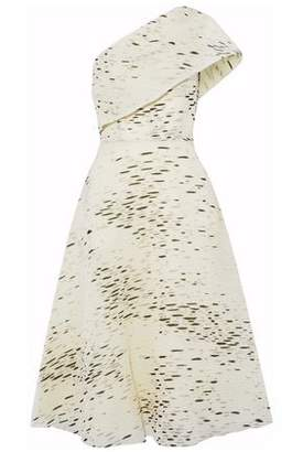 Lela Rose One-Shoulder Fil Coupé Gauze Dress