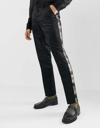 Asos Edition EDITION skinny suit pants in grey and gold sequins
