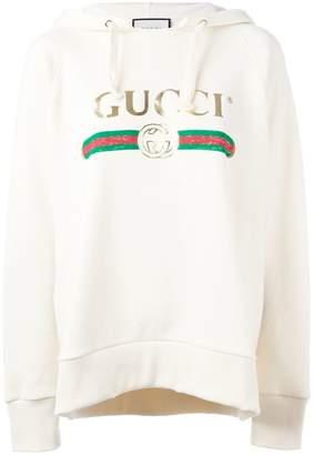 Gucci logo front hooded sweatshirt