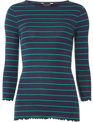 Dorothy Perkins Womens Navy and Green 3/4 Sleeve Lettuce Edge Striped T-Shirt
