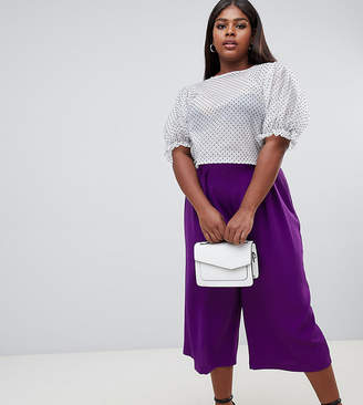 Asos DESIGN Curve tailored large pleat culottes