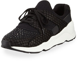 Ash Mood Embellished Knit Sneaker, Black $199 thestylecure.com