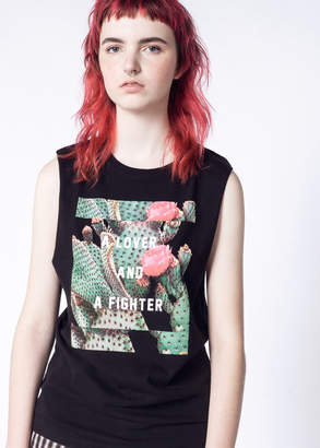 WildFang Lover + Fighter Cactus Tank - Lover + Fighter Cactus Tank - BLACK - SMALL