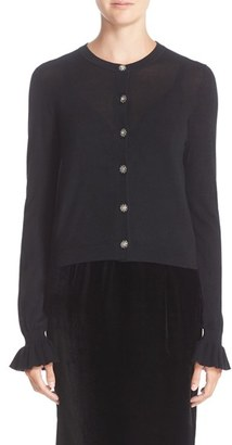 Women's Nordstrom Signature And Caroline Issa Ruffle Sleeve Cashmere Cardigan $499 thestylecure.com