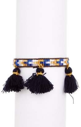 Zacasha Multi Color Beaded & Navy Tassel Bracelet