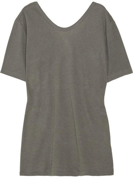 T by Alexander Wang Cross-over back cotton-blend T-shirt