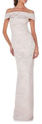 Theia Off-The-Shoulder Gown