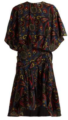 J.W.Anderson Paisley Print Handkerchief Hem Silk Dress - Womens - Black Multi
