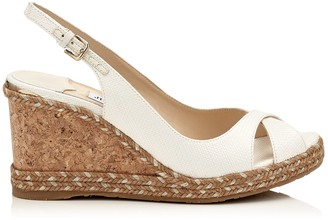 Jimmy Choo AMELY 80 Latte Woven Raffia Wedge with Metallic Trim and Rope