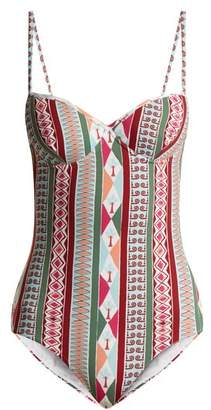 Le Sirenuse, Positano - Amanda Arlechino Print Sweetheart Neck Swimsuit - Womens - Pink Multi