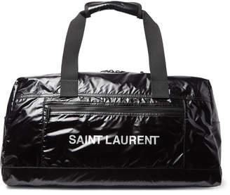 Saint Laurent Metallic Logo-Print Glossed Nylon-Ripstop Holdall