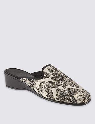 marks and spencer wedge heel floral print mule slippers shopstyle