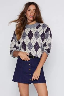 Nasty Gal Make Knit Happen Argyle Sweater
