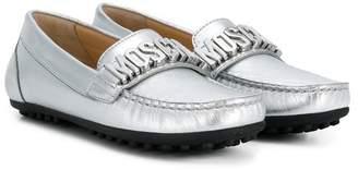 Moschino Kids logo plaque slippers