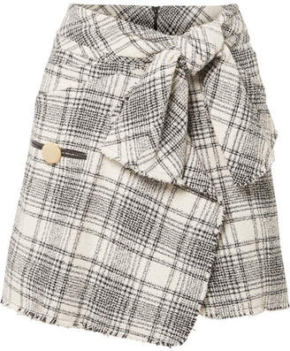 Alexander Wang Wrap-effect Checked Bouclé-tweed Mini Skirt - Gray