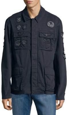 John Varvatos Patched Zip-Up Jacket