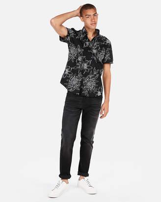 Express Slim Floral Print Short Sleeve Button-Down Shirt
