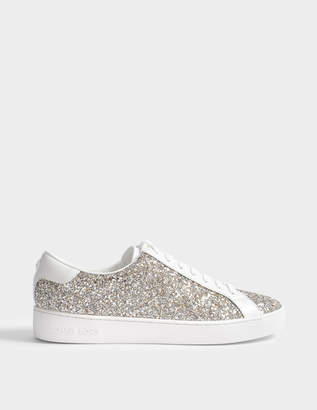 MICHAEL Michael Kors Irving Lace Up Sneakers in Champagne Chunky Glitter and Calf
