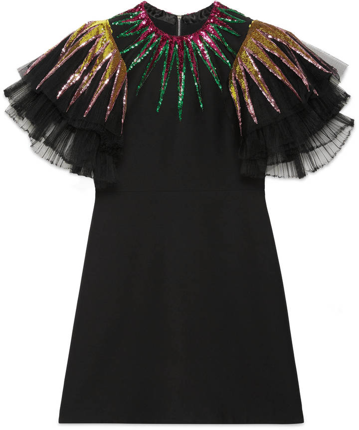 Embroidered sequin tulle dress