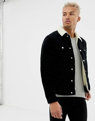 Pull&Bear fleece lined cord jacket in black