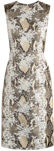 Erdem Tali snake-print lace-panel dress